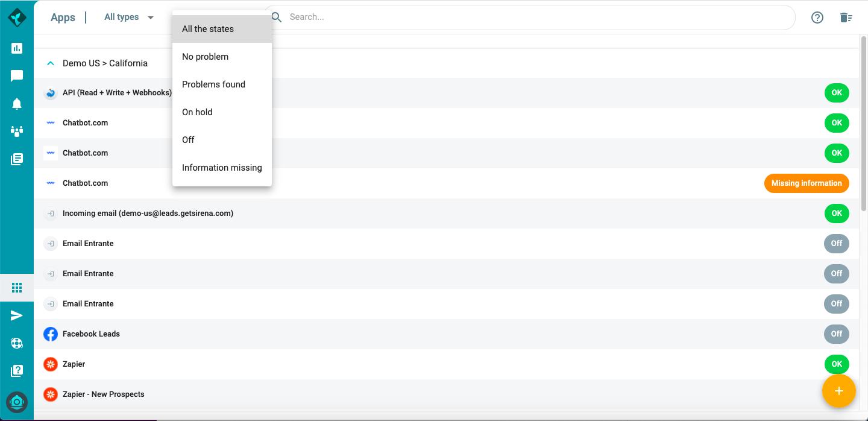 Sirena's App Screen